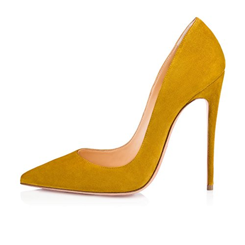Basic Court On Pointy Shoes 120mm Yellow Toe High Sexy Elegant Sky Heels Suede Ubeauty Heel Women's Slip Stilettos qRgAOU