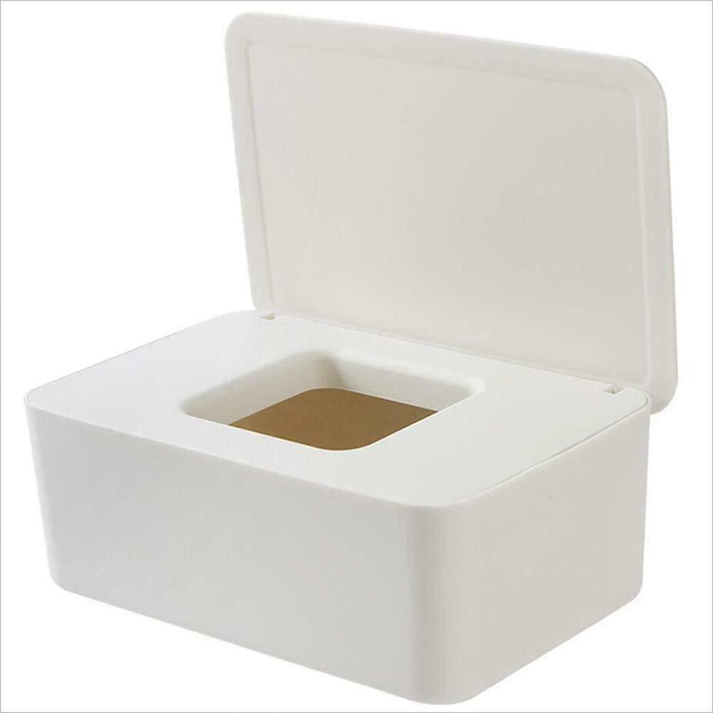 MIBANG T/ücher Spender Box trocken Nass Papier Tasche Halter wei/ß quadratisch mit Abdeckung staubdicht Stil tragbar nass und trocken f/ür Home Office