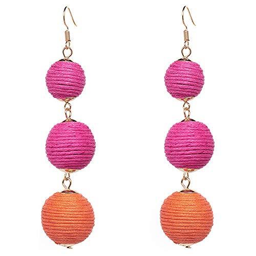 (Thread Ball Dangle Earrings Tassel Drop Earring Beaded Lantern Ear Studs Women Linear Tribal Charms Jewelry Rose Rose Orange Mixed)