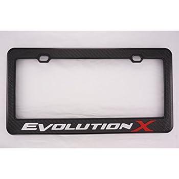 Fit Mitsubishi Evolution X Matt Black Liecnese Plate Frame with Caps