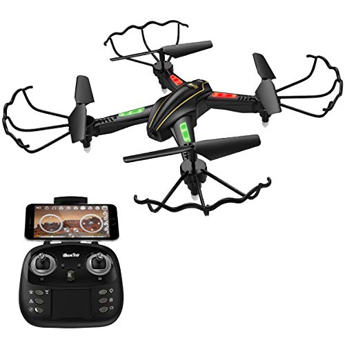 iBaseToy RC Quadcopter Drone with Camera Live Video 720P HD Altitude Hold Equipped with Headless Mode Gravity Sensor RTF Helicopter for Beginner