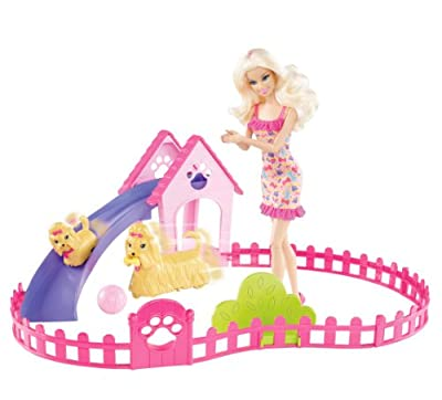 Barbie Puppy Play Park And Barbie Doll Giftset by Mattel