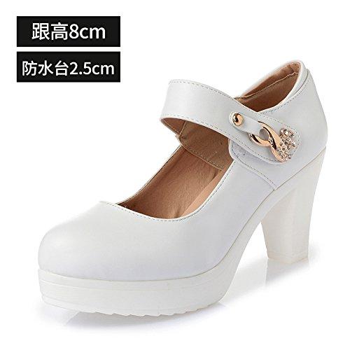 blanco solo tacón de redonda de zapatos de primavera con alto Cabeza los grande 43 cuero blanco zapatos zapatos mujeres bold mujer con gruesa de 8cm alto dBY7pxnHq