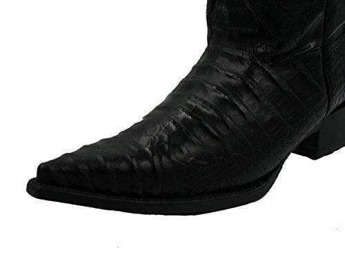Menns Håndlagde Krokodille Alligator Magen Print Western Cowboy Boots Svart  ...