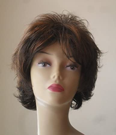 Amazon Com Short Dark Brown With Red Highlights Women S Wig