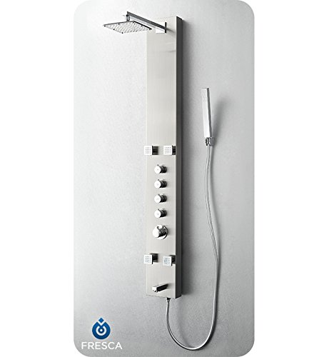 Fresca Bath FSP8001BS Pavia Stainless Steel Thermostatic Shower Massage Panel, Brushed Silver ()