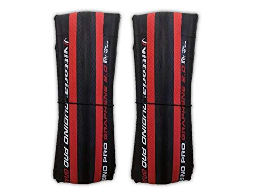 Vittoria Rubino Pro IV 700x25c Road Bike Tire Bundle - Pair (2 Tires) w/Decal (Black/Red)