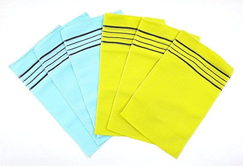 OliviaTree Korea Italy Towel Viscos Rayon 100% Exfoliating Bath Towel Gloves X-Large Size Color: Light blue / yellow (6pack)