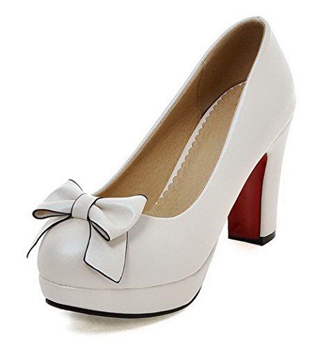 AgooLar Damen Ziehen auf PU Rund Zehe Hoher Absatz Rein Pumps Schuhe, Weiß, 40