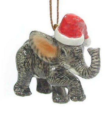 ELEPHANT Baby w/SANTA HAT Christmas Ornament Figurine MINIATURE Porcelain
