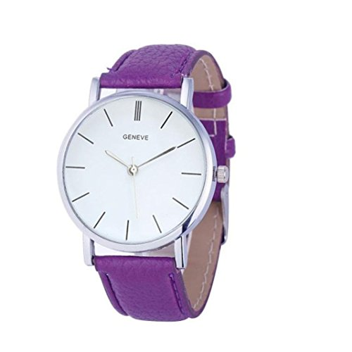 SMTSMT Women's Retro Design Leather Band Analog Alloy Quartz Wrist Watch-Purple