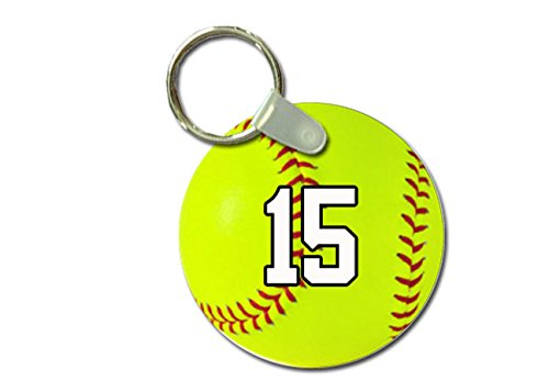 TYD Designs Key Chain Sports Softball Customizable 2 Inch Metal and Fully Assembled Ring with Any Team Jersey Player Number 15