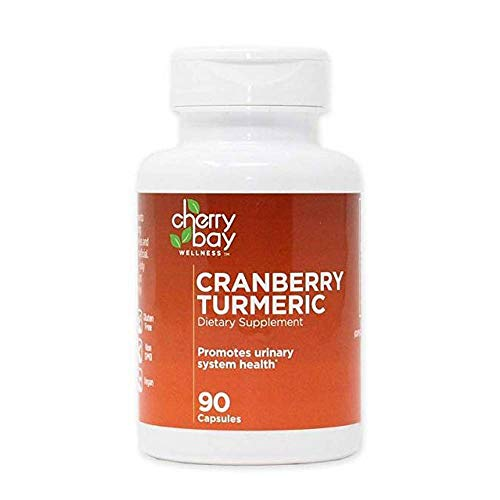 Cranberry Turmeric Dietary Supplement 480mg 90 Count Bottle, case of 12 Non-GMO Gluten Free Helps to Support a Healthy Urinary System