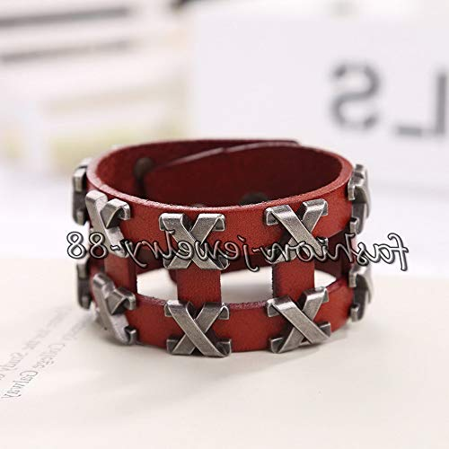 Hemau Unisexs Bracelet Leather Infinity Charm Cuff Bangle Wristband Multilayer Wrap | Model BRCLT - 13179 - Leather Juicy Charms
