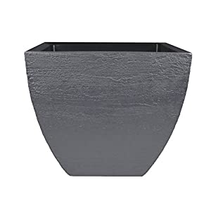 Tusco Products MSQ20SL Modern Square Garden Planter, 20-Inch, Slate