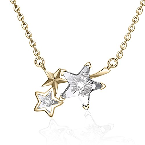 YAN & LEI Sterling Silver Triple Swarovski Crystal Shooting Stars Pendant Necklace Color Golden