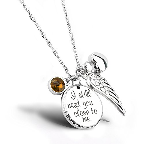 I Still Need You Close to Me Cremation Jewelry Urn Necklace Pet Memorial Ash Holder Necklace with Birthstone Crystal and Angel Wing Charm Sympathy Gift Memorial ()