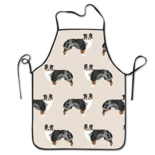 (COLOMAKE Women Girls Polyester Retro Adjustable Australian Shepherd Aprons for Kitchen Cooking)