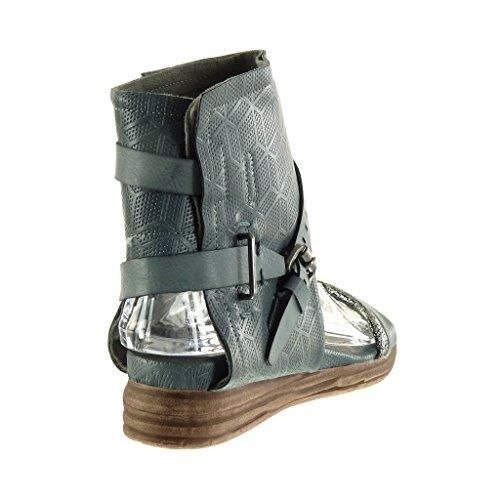 Angkorly - Chaussure Mode Sandale Bottine ouverte femme perforée lanière boucle Talon plat 4 CM - Bleu