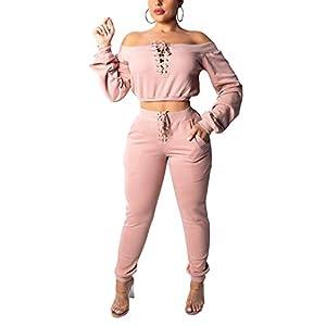 Angsuttc Women 2 Piece Outfit Lace Up Off Shoulder Crop Top and Long Pants Set Tracksuit