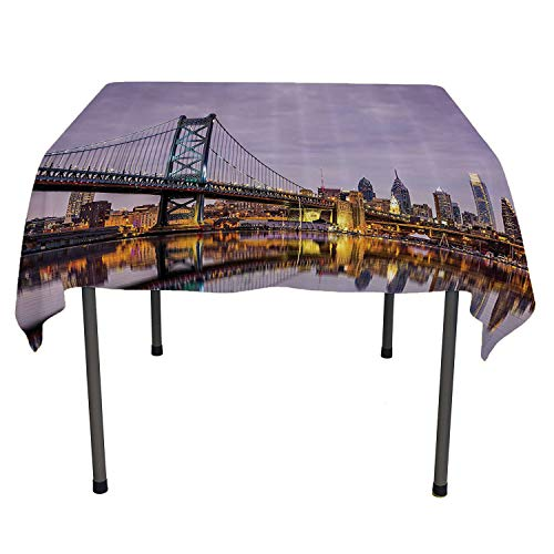 Apartment Decor Collection table cloth cover Ben Franklin Bridge and Philadelphia Skyline under Sunsets Reflections on Water Image acrylic coated tablecloth Spring/Summer/Party/Picnic 60 By 90