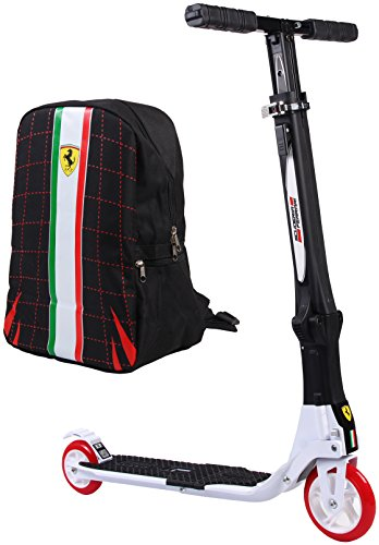 - Ferrari Collapsible Two Wheels Scooter with Free Backpack, White