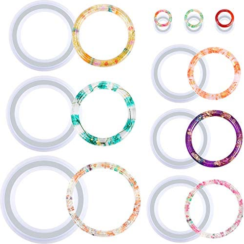9 Pieces Silicone Bracelet Mold and Ring Resin Casting Mold Set Round Epoxy Jewelry Mold Silicone Bangle Ring Mold for Jewelry DIY Crafts Making Supplies