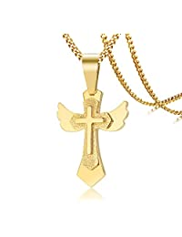 """Stainless Steel Angel Wing Christian Cross Pendant Necklace,Religion Jewelry,24"""" Chain"""