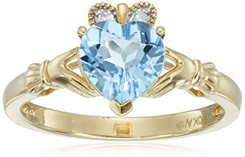 10k Yellow Gold Heart-Shaped Blue Topaz and Diamond-Accent Claddagh Ring,  Size 6