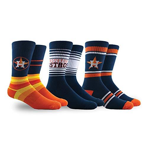 PKWY by Stance MLB Men's Team 3-Pack Socks (Large, Houston Astros)