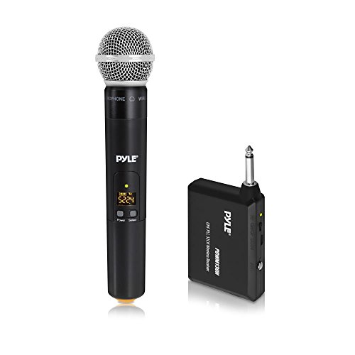 - Pyle UHF 32-Channels Portable Wireless Microphone System Set with Handheld Microphone, 1/4'' Transmitter, and Receiver - Supports Multiple Microphones - for Outdoor, Karaoke & Conference