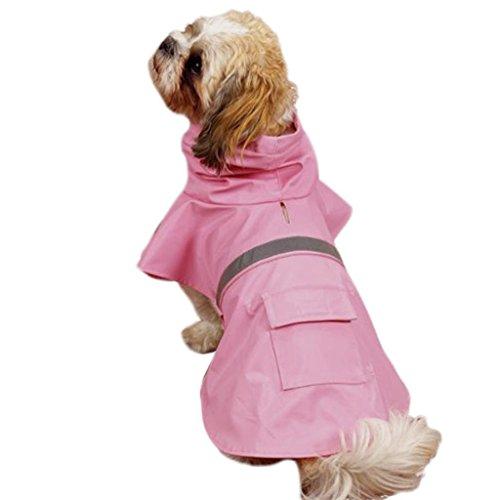 OCSOSO Pet Dog Slicker Raincoat Gear Brite Rain Jackets Dog Cat Hooded with Reflective Band (Pink, S Back: 12