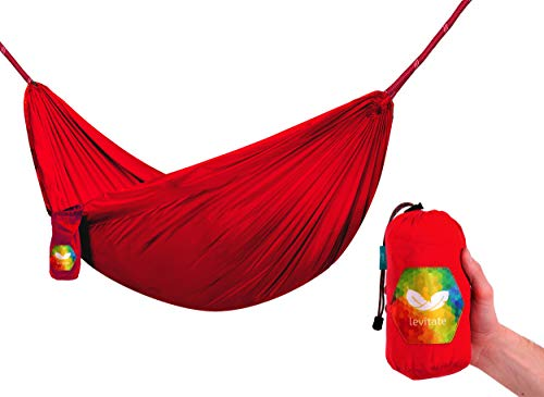 Levitate Single Camping Hammock Portable Hammock with Tree Straps (Red)