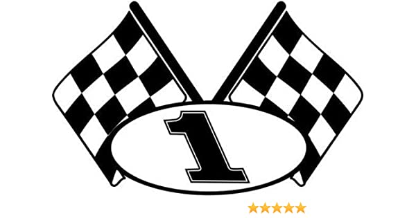 Amazon.com: Checkered Flag Racing Number 1 Graphic Car Truck ...