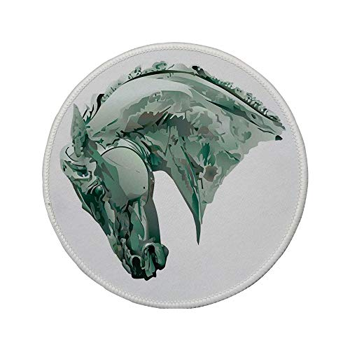 Non-Slip Rubber Round Mouse Pad,Sculptures Decor,Green Stain Horse Head with Mane Image Equestrian Camouflage Color Abstract Artwork,Grey,7.87