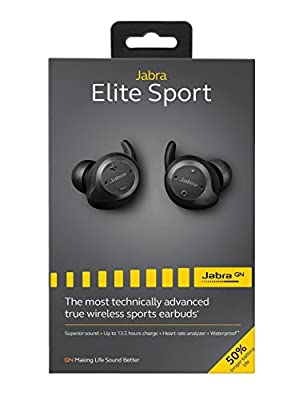 Jabra Elite Sport 4.5 Hour True Wireless Waterproof Fitness & Running Earbuds with Heart Rate and Activity Tracker - Red + Blue Strobe Lights, Wall Charger, Wireless Connectivity and Charging Case