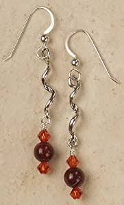 Earrings - Sterling Silver Twist with Poppy Jasper and Crystal Accents