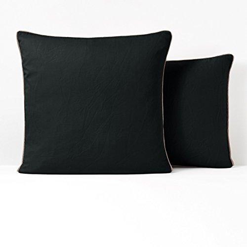 Satin Coverlet Squares (La Redoute Interieurs Pavone Washed Cotton Satin Pillowcase Black Size Square (63 X 63Cm))