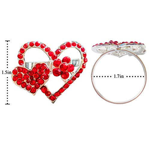 Diamond Heart Napkin Rings Serviette Holder, Set of 4 Metal Napkin Ring, Holiday Table Decor for Valentine's Day, Wedding, Birthday Party, Thanksgiving Day, Christmas Day,Dining Table Decoration