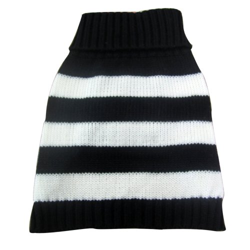 (Turtleneck Stripes Pet Clothes Dog Wool Classic Sweaters (Black&White Stripe, M))