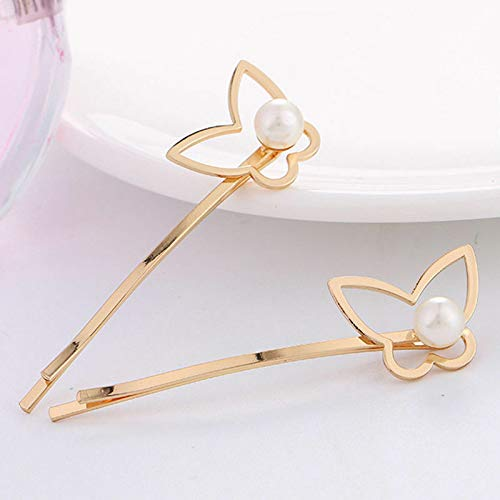 Fashion Women Geometry Animal Flower Hairpin Hair Clip Stick Hair Accessories (Design - #24 Gold Butterfly Pearl)
