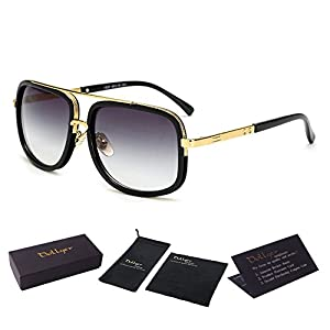 Oversized Square Aviator Sunglasses for Men Women Pilot Shades Gold Frame Retro Brand Designer