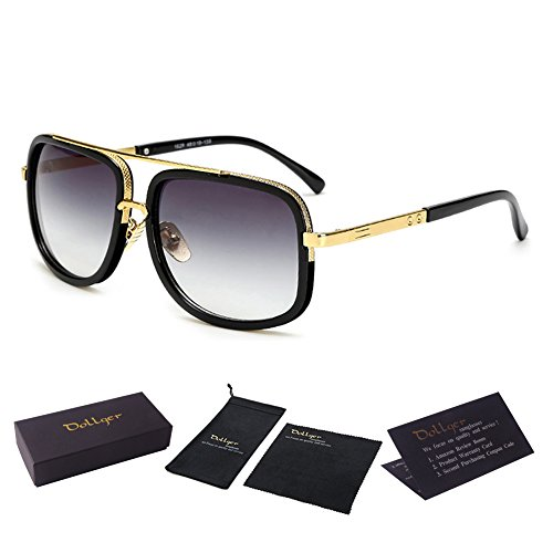 Oversized Square Aviator Sunglasses for Men Women Pilot Shades Gold Frame Retro Brand Designer (Metal Sunglasses Pilot)