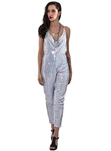 Miss ord Missord Women's Deep V Spaghetti Straps Backless Sequin Tassel Jumpsuit (Medium, Silver) (Sequin Jumpsuit)