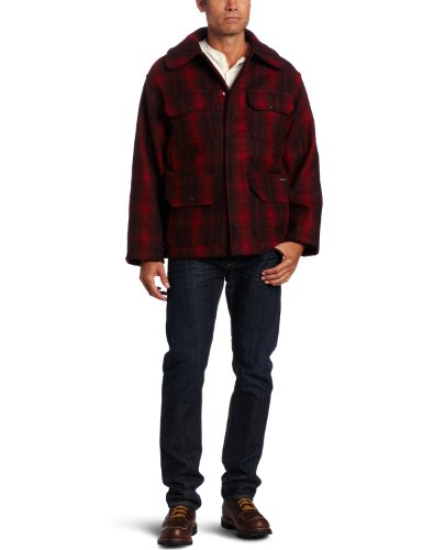 Woolrich Men's Classic Hunt Coat, Red Black Plaid, Medium