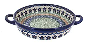 Polish Pottery Aztec Flower Small Round Baker with Handles