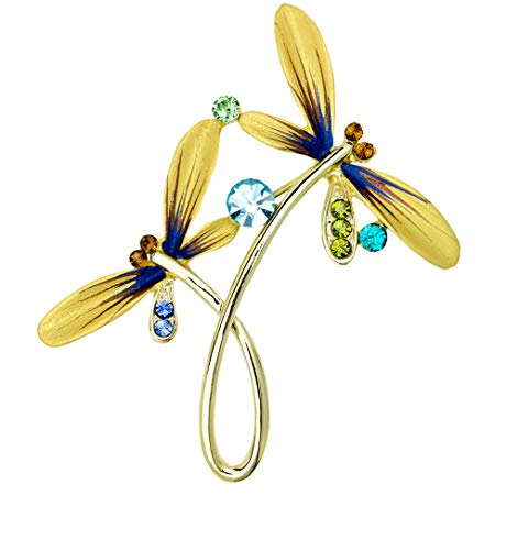 Swarovski Crystal Dragonfly Brooch - Akianna Hand Painted Swarovski Element Dragonfly Brooch Pin Gold