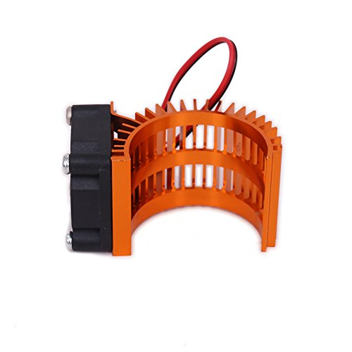 540 Electric Motor (RCAWD Motor Heat Sink Heatsink with Fan N10028 Cooling Side Vent 6v JST 540/545/550 Size Alloy Aluminum for 1/10 RC Hobby Model Car HSP HPI Wltoys Himoto Tamiya(Orange))