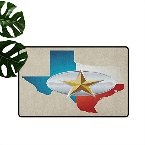 Anzhutwelve Texas Star,Floor Mats Cowboy Belt Buckle Star Design with Texas Map Southwestern Parts of America 24