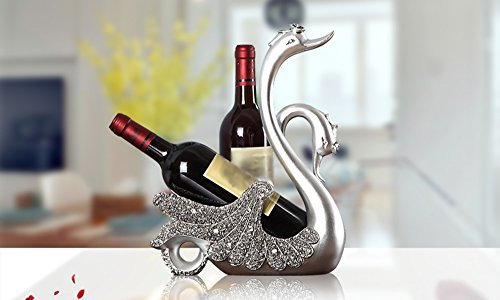YYHSND European Swan Wine Rack Decoration Crafts Jewelry (Color : Silver)